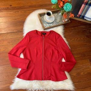 Euc Mossimo red peplum zipper blazer jacket xl